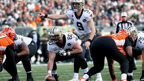 <p>               New Orleans Saints quarterback Drew Brees (9) directs his players before the snap in the first half of an NFL football game against the Cincinnati Bengals, Sunday, Nov. 11, 2018, in Cincinnati. (AP Photo/Frank Victores)             </p>