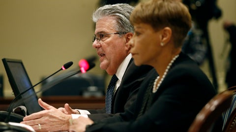 <p>               University System of Maryland chancellor Robert Caret, left, speaks alongside Board of Regents chair Linda Gooden at a House of Delegates appropriations committee hearing, Thursday, Nov. 15, 2018, in Annapolis, Md. The hearing was called to examine how the Board of Regents and the University of Maryland responded to the death of football player Jordan McNair. (AP Photo/Patrick Semansky)             </p>