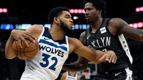 <p>               Brooklyn Nets' Ed Davis (17) guards Minnesota Timberwolves' Karl-Anthony Towns (32) during the fourth quarter of an NBA basketball game on Monday, Nov. 12, 2018, in Minneapolis. The Timberwolves won 120-113. (AP Photo/Hannah Foslien)             </p>