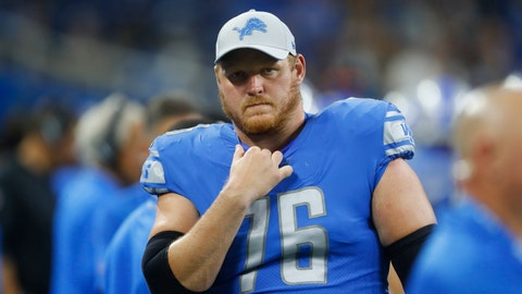 <p>               This Aug. 17, 2018 photo shows Detroit Lions offensive guard T.J. Lang during the second half of a preseason NFL football game against the New York Giants in Detroit. The Lions have put Lang on injured reserve with a neck injury. The team announced the move Wednesday, Nov. 14, 2018.  (AP Photo/Paul Sancya)             </p>