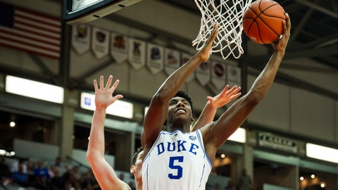 <p>               FILE - In this Aug. 17, 2018, file photo ,Duke' R.J. Barrett (5) shoots against a Toronto defender during a college basketball exhibition game in Mississauga, Ontario. Barrett was the lone freshman included in the Associated Press preseason All-America team. (Christopher Katsarov/The Canadian Press via AP, File)             </p>