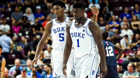 <p>               FILE - In this Aug. 17, 2018, file photo, Duke's R.J. Barrett, left, congratulates teammate Zion Williamson during a college basketball exhibition game against Toronto in Mississauga, Ontario. Duke's star-studded freshman class is looking to bounce back from the first loss of their college careers, when they play Indiana, Tuesday, Nov. 27, 2018. (Christopher Katsarov/The Canadian Press via AP, File)             </p>