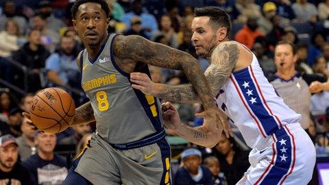 <p>               Memphis Grizzlies guard MarShon Brooks (8) drives against Philadelphia 76ers guard JJ Redick (17) in the second half of an NBA basketball game Saturday, Nov. 10, 2018, in Memphis, Tenn. (AP Photo/Brandon Dill)             </p>