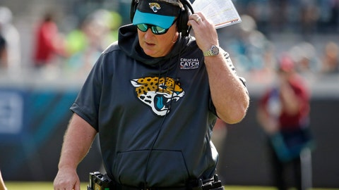 <p>               FILE - In this Oct. 21, 2018, file photo, Jacksonville Jaguars head coach Doug Marrone paces the sideline during the second half of an NFL football game against the Houston Texans in Jacksonville, Fla. The Jaguars used their bye week to ponder the team's precarious position. With a four-game losing streak and 0-2 in the AFC South, they decided they are facing a must-win situation at division rival Indianapolis on Sunday. (AP Photo/Stephen B. Morton, File)             </p>