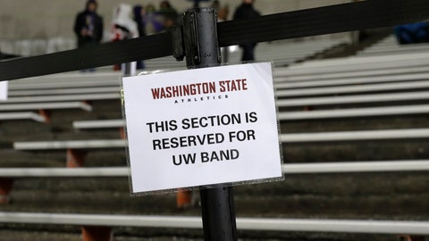 <p>               A section of the stands in Martin Stadium remains reserved for members of the Washington marching band before an NCAA college football game against Washington State, Friday, Nov. 23, 2018, in Pullman, Wash., despite statements from Washington officials that the UW band will not be performing Friday after one of the buses carrying band members overturned on Interstate 90 while traveling to the game Thursday night. (AP Photo/Ted S. Warren)             </p>
