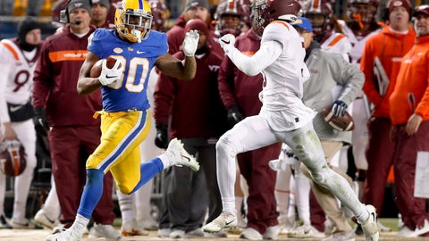 <p>               Pittsburgh running back Qadree Ollison (30) looks back at Virginia Tech defensive back Caleb Farley (3) as he makes a 97-yard-run for a touchdown in the fourth quarter of an NCAA football game, Saturday, Nov. 10, 2018, in Pittsburgh. Pittsburgh won 52-22.(AP Photo/Keith Srakocic)             </p>