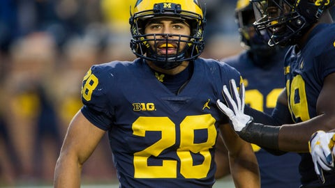 <p>               Michigan defensive back Brandon Watson (28) celebrates with defensive lineman Kwity Paye, right, after returning an interception for a touchdown in the third quarter of an NCAA college football game against Penn State in Ann Arbor, Mich., Saturday, Nov. 3, 2018. Michigan won 42-7. (AP Photo/Tony Ding)             </p>