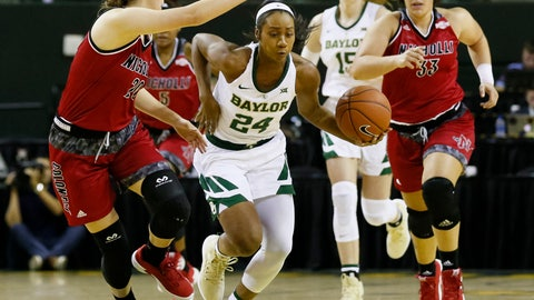 <p>               Baylor guard Chloe Jackson (24) drives past Nicholls State guard Cassidy Barrios, left, in the first half of an NCAA college basketball game on Tuesday, Nov. 6, 2018, in Waco, Texas. (AP Photo/Ray Carlin)             </p>