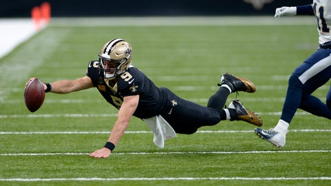 <p>               New Orleans Saints quarterback Drew Brees (9) dives as he scrambles for yardage in the first half of an NFL football game against the Los Angeles Rams in New Orleans, Sunday, Nov. 4, 2018. (AP Photo/Bill Feig)             </p>