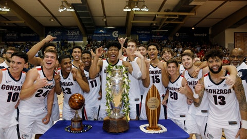<p>               Gonzaga players celebrate after defeating Duke 89-87 in an NCAA college basketball game to win the Maui Invitational, Wednesday, Nov. 21, 2018, in Lahaina, Hawaii. (AP Photo/Marco Garcia)             </p>