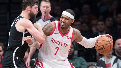 "<p>               FILE - In this Friday, Nov. 2, 2018 file photo, Brooklyn Nets forward Joe Harris guards Houston Rockets forward Carmelo Anthony (7) during the second half of an NBA basketball game in New York. Carmelo Anthony is done in Houston. Rockets general manager Daryl Morey released a statement Thursday, Nov. 15, 2018 saying the team is ""parting ways"" with Anthony and ""working toward a resolution."" (AP Photo/Mary Altaffer, File)             </p>"