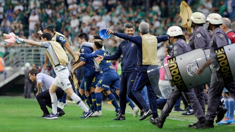 <p>               Argentina's Boca Juniors celebrate after defeating Brazil's Palmeiras during a semifinal second leg soccer match of the Copa Libertadores in Sao Paulo, Brazil, Wednesday, Oct. 31, 2018. Boca advances to the final. (AP Photo/Nelson Antoine)             </p>