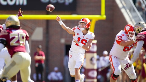 <p>               Clemson quarterback Trevor Lawrence throws in the first half of an NCAA college football game against Florida State in Tallahassee, Fla., Saturday, Oct.27, 2018. Clemson defeated Florida State 59-10. (AP Photo/Mark Wallheiser)             </p>