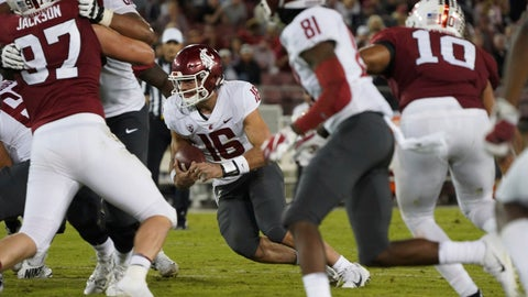 <p>               Washington State quarterback Gardner Minshew II (16) scrambles in the second half against Stanford during an NCAA college football game on Saturday, Oct. 27, 2018, in Stanford, Calif. (AP Photo/Don Feria)             </p>