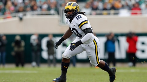 <p>               FILE - In this Oct. 20, 2018, file photo, Michigan linebacker Devin Bush follows the ball during the first half of an NCAA college football game against Michigan State, in East Lansing, Mich. No. 4 Michigan might be without defensive star Chase Winovich for Saturday's showdown with No. 10 Ohio State because of an apparent shoulder injury. If he can't play, the Wolverines have so much depth they may be able to overcome it. The Buckeyes, meanwhile, have struggled on defense for much of the year. (AP Photo/Carlos Osorio, File)             </p>