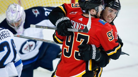 <p>               Calgary Flames' Sam Bennett (93) celebrates his goal with teammate Matthew Tkachuk, right, as Winnipeg Jets goalie Connor Hellebuyck picks himself up during the first period of an NHL hockey game Wednesday, Nov. 21, 2018, in Calgary, Alberta. (Jeff McIntosh/The Canadian Press via AP)             </p>