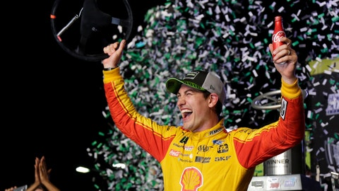 <p>               Joey Logano waves his steering wheel as confetti flies after winning the NASCAR Cup Series Championship auto race at the Homestead-Miami Speedway, Sunday, Nov. 18, 2018, in Homestead, Fla. (AP Photo/Terry Renna)             </p>