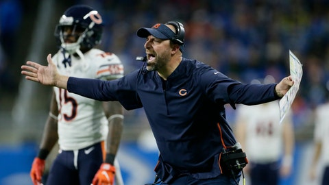 <p>               Chicago Bears head coach Matt Nagy yells during the first half of an NFL football game against the Detroit Lions, Thursday, Nov. 22, 2018, in Detroit. (AP Photo/Duane Burleson)             </p>