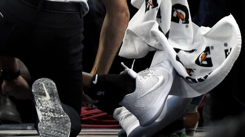 <p>               The ankle of Brooklyn Nets guard Caris LeVert (22) is seen after an injury during the second quarter against the Minnesota Timberwolves of an NBA basketball game on Monday, Nov. 12, 2018, in Minneapolis. (AP Photo/Hannah Foslien)             </p>