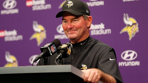 <p>               FILE - In this Sept. 9, 2018, file photo, Minnesota Vikings head coach Mike Zimmer speaks during a news conference after an NFL football game against the San Francisco 49ers, in Minneapolis. Minnesota's defense was vulnerable in the first quarter of the season, but Vikings coach Mike Zimmer and his staff and players have successfully made the adjustments they needed to get the group back on a dominant track. (AP Photo/Jim Mone, File)             </p>