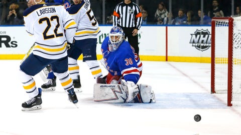 <p>               New York Rangers goaltender Henrik Lundqvist (30) loses his stick while defending the oal against Buffalo Sabres center Johan Larsson (22) and left wing Jeff Skinner (53) during the first period of an NHL hockey game, Sunday, Nov. 4, 2018, in New York. (AP Photo/Noah K. Murray)             </p>