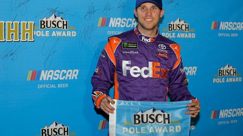 <p>               Denny Hamlin poses for a photo after winning the pole position during qualifying for the NASCAR Cup Series auto race at the Homestead-Miami Speedway, Friday, Nov. 16, 2018, in Homestead, Fla. (AP Photo/Terry Renna)             </p>