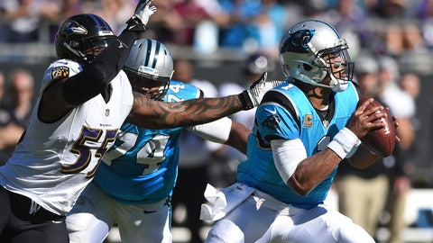 <p>               FILE - In this Oct. 28, 2018, file photo, Carolina Panthers' Cam Newton (1) looks to pass under pressure from Baltimore Ravens' Terrell Suggs (55) during the first half of an NFL football game in Charlotte, N.C. Newton has thrown at least two touchdown passes in each of the last six games for Carolina. The Panthers face the Tampa Bay Buccaneers on Sunday. (AP Photo/Mike McCarn, File)             </p>