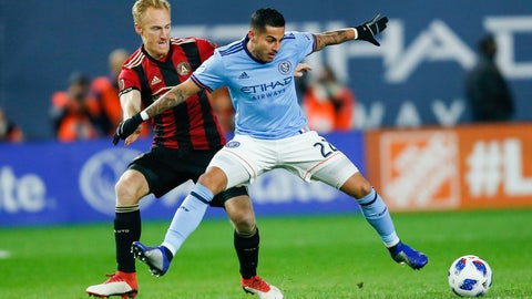 <p>               New York City FC's Ronald Matarrita, right, fights for the ball against Atlanta United FC's Jeff Larentowicz during an Eastern Conference MLS soccer semifinal matchup Sunday, Nov. 4, 2018, in New York. (AP Photo/Eduardo Munoz Alvarez)             </p>