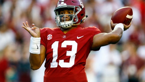 <p>               FILE - In this Saturday, Oct. 13, 2018, file photo, Alabama quarterback Tua Tagovailoa (13) throws a pass during the first half of the team's NCAA college football game against Missouri in Tuscaloosa, Ala. Alabama quarterback and Heisman Trophy front-runner Tua Tagovailoa aggravated a sprained right knee last week. The top-ranked Crimson Tide face Tennessee on Saturday. (AP Photo/Butch Dill, File)             </p>