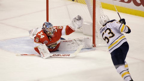<p>               Buffalo Sabres left wing Jeff Skinner (53) scores a goal against Florida Panthers goaltender James Reimer (34) during the first period of an NHL hockey game on Friday, Nov. 30, 2018, in Sunrise, Fla. (AP Photo/Terry Renna)             </p>