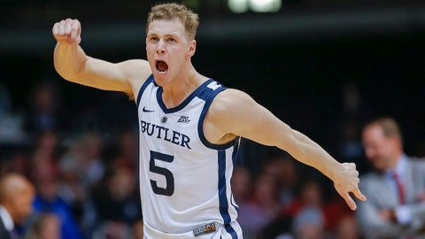 INDIANAPOLIS, IN - NOVEMBER 16: Paul Jorgensen #5 of the Butler Bulldogs reacts after a three point basket during the game against the Mississippi Rebels at Hinkle Fieldhouse on November 16, 2018 in Indianapolis, Indiana. (Photo by Michael Hickey/Getty Images)