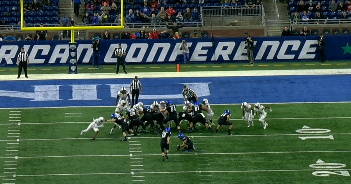 online retailer 3fdd1 c9c04 Buffalo kicker Adam Mitcheson makes one of the weirdest field goals you ll  ever see   FOX Sports