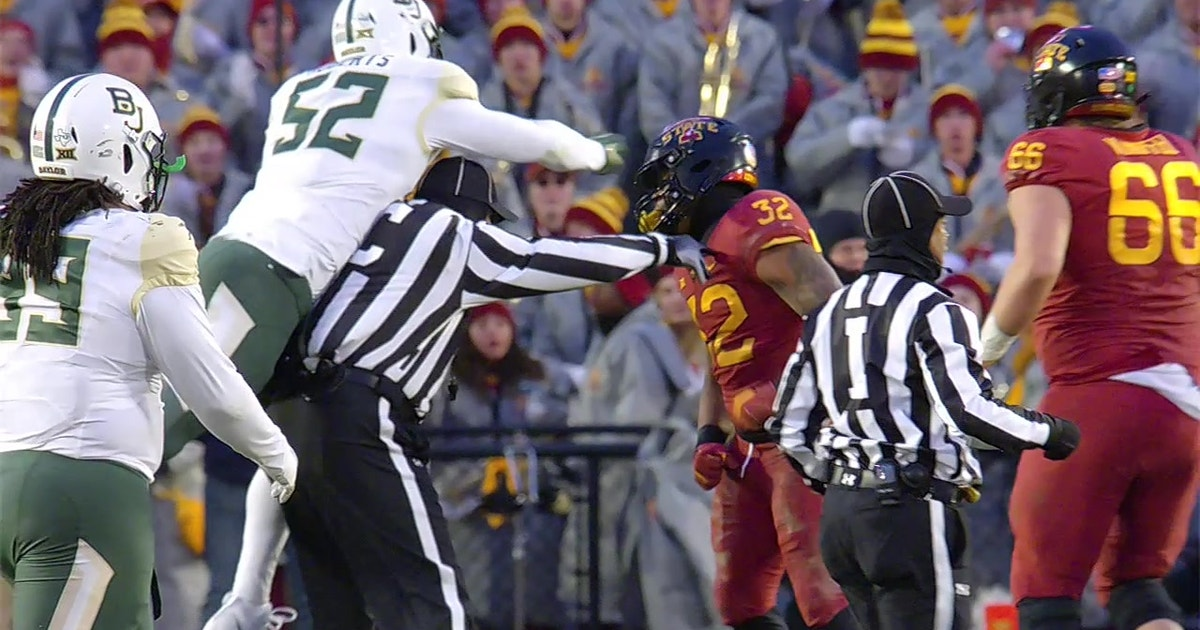 Baylor Player Swings Over Ref S Head Amid Multiple Fights Between