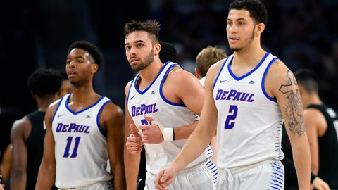 CHICAGO, IL - MARCH 03: DePaul Blue Demons guard Max Strus (31) hustles to the bench during the game against the Xavier Musketeers on March 3, 2018 at the Wintrust Arena located in Chicago, Illinois.  (Photo by Quinn Harris/Icon Sportswire via Getty Images)