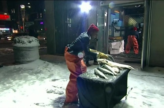 Terry Bradshaw and Cris Carter get into the Seattle spirit by tossing some big fish