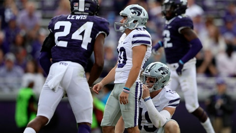 Nov 3, 2018; Fort Worth, TX, USA; Kansas State Wildcats place kicker Blake Edward Lynch (10) misses an extra point during the second half against the TCU Horned Frogs at Amon G. Carter Stadium. Mandatory Credit: Kevin Jairaj-USA TODAY Sports