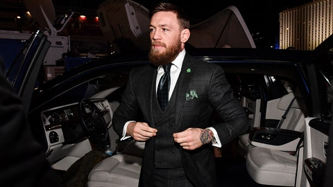LAS VEGAS, NV - OCTOBER 06:  Conor McGregor of Ireland arrives to the arena before the UFC 229 event inside T-Mobile Arena on October 6, 2018 in Las Vegas, Nevada. (Photo by Brandon Magnus/Zuffa LLC/Zuffa LLC via Getty Images)