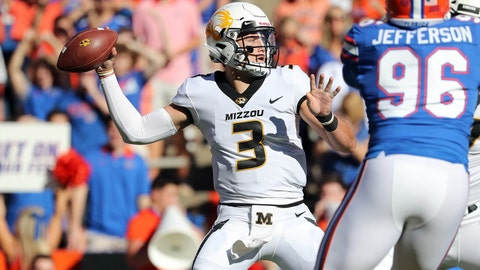 Nov 3, 2018; Gainesville, FL, USA; Missouri Tigers quarterback Drew Lock (3) looks to pass the ball as Florida Gators defensive lineman Cece Jefferson (96) rushes during the first quarter at Ben Hill Griffin Stadium. Mandatory Credit: Kim Klement-USA TODAY Sports