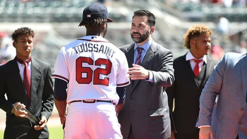 Sep 15, 2018; Atlanta, GA, USA; Atlanta Braves general manger Alex Anthopoulos greets Atlanta Braves starting pitcher Touki Toussaint (62) on the field prior to the game against the Washington Nationals at SunTrust Park. Mandatory Credit: Adam Hagy-USA TODAY Sports