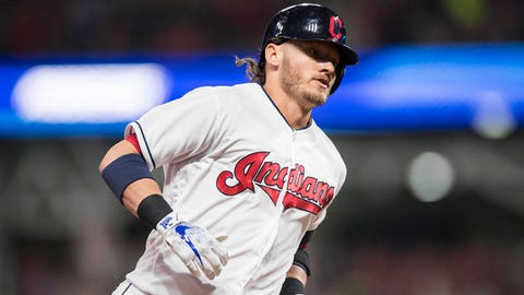 Sep 21, 2018; Cleveland, OH, USA; Cleveland Indians designated hitter Josh Donaldson (27) rounds the bases after hitting a home run during the fourth inning against the Boston Red Sox at Progressive Field. Mandatory Credit: Ken Blaze-USA TODAY Sports