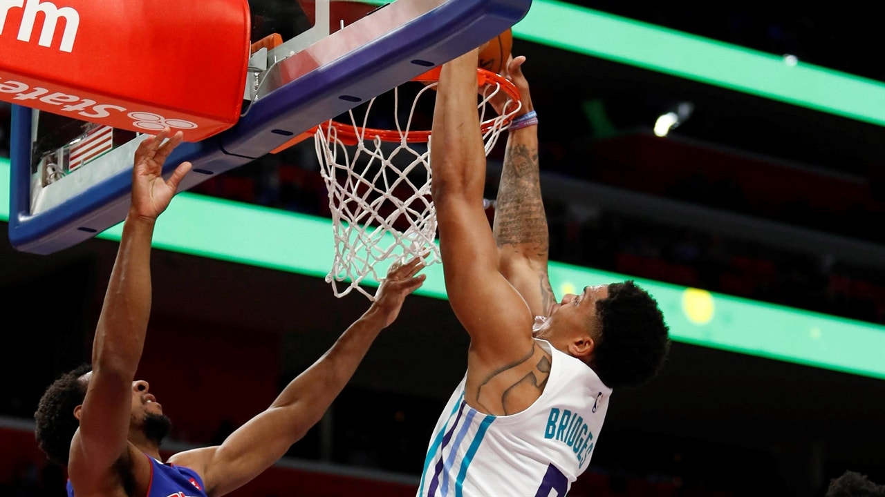 low priced 39926 6a5a5 Highlights: Miles Bridges adds to dunk reel in Hornets' win over Pistons