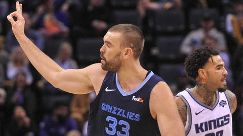 Nov 16, 2018; Memphis, TN, USA; Memphis Grizzlies center Marc Gasol (33) reacts during the first half against Sacramento Kings center Willie Cauley-Stein (00) at FedExForum. Mandatory Credit: Justin Ford-USA TODAY Sports