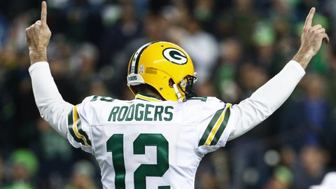 SEATTLE, WA - NOVEMBER 15: Aaron Rodgers #12 of the Green Bay Packers celebrates a touchdown in the first quarter against the Seattle Seahawks at CenturyLink Field on November 15, 2018 in Seattle, Washington. (Photo by Abbie Parr/Getty Images)