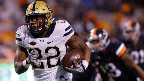 Nov 2, 2018; Charlottesville, VA, USA; Pittsburgh Panthers running back Darrin Hall (22) carries the ball fen route to a touchdown against the Virginia Cavaliers in the first quarter at Scott Stadium. Mandatory Credit: Geoff Burke-USA TODAY Sports