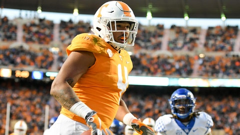 Nov 10, 2018; Knoxville, TN, USA; Tennessee Volunteers tight end Dominick Wood-Anderson (4) scores a touchdown against the Kentucky Wildcats during the second half at Neyland Stadium. Tennessee won 24 to 7. Mandatory Credit: Randy Sartin-USA TODAY Sports