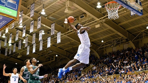DURHAM, NORTH CAROLINA - NOVEMBER 14: Zion Williamson #1 of the Duke Blue Devils dunks against the Eastern Michigan Eagles during the first half of their game at Cameron Indoor Stadium on November 14, 2018 in Durham, North Carolina. (Photo by Grant Halverson/Getty Images)
