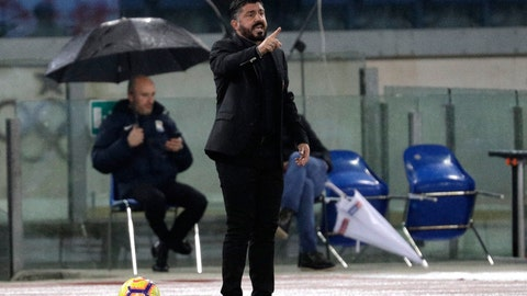 <p>               AC Milan coach Gennaro Gattuso gestures during a Serie A soccer match between Lazio and AC Milan, at the Rome Olympic stadium, Sunday, Nov. 25, 2018. (AP Photo/Gregorio Borgia)             </p>