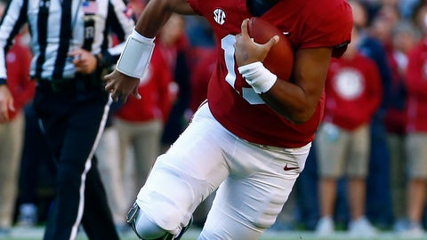 <p>               Alabama quarterback Tua Tagovailoa (13) scrambles for yardage during the first half of an NCAA college football game against Mississippi State, Saturday, Nov. 10, 2018, in Tuscaloosa, Ala. (AP Photo/Butch Dill)             </p>