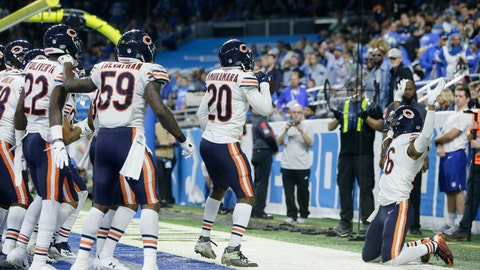 <p>               The Chicago Bears celebrate after cornerback Kyle Fuller intercepted a pass in the end zone intended for Detroit Lions tight end Michael Roberts during the second half of an NFL football game, Thursday, Nov. 22, 2018, in Detroit. (AP Photo/Duane Burleson)             </p>