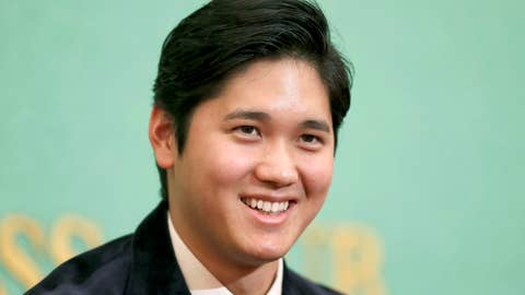 <p>               Los Angeles Angels two-way player Shohei Ohtani smiles during a press conference in Tokyo, Thursday, Nov. 22, 2018. Ohtani returned home after being picked for American League Rookie of the Year. (Yohei Fukai/Kyodo News via AP)             </p>